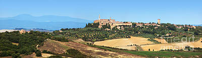 Vineyard Photograph - Tuscany Landscape Panorama With Pienza Town On The Hill, Italy by Michal Bednarek