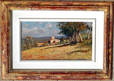 A Summer Evening Landscape Painting - Tuscany Landscape With Frame by Vaccaro
