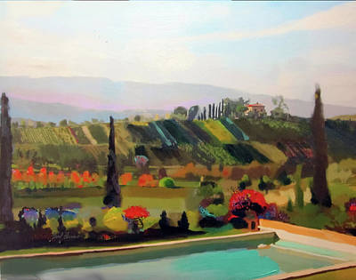Old World Landscape Painting - Tuscany Pool by Brad Burns