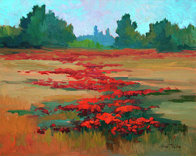 Olive Tree Painting - Tuscany Poppy Field by Diane McClary