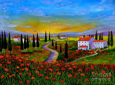Tuscany Vineyard Oil Painting - Tuscany Sunset by Inna Montano