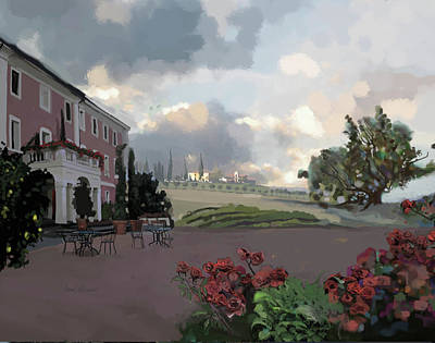 Old World Landscape Painting - Tuscany Villa by Brad Burns