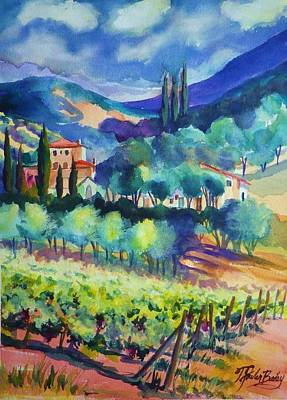 Painting - Tuscany Vineyard Blues by Therese Fowler-Bailey