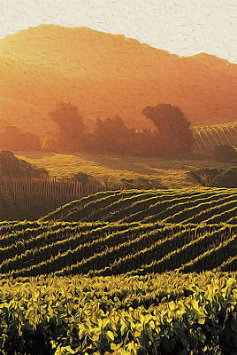 Abstract Oil Paintings Color Pattern And Texture - Tuscany vineyards - 06 by AM FineArtPrints
