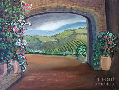 Painting - Tuscany Vineyards Through The Archway by Rod Jellison
