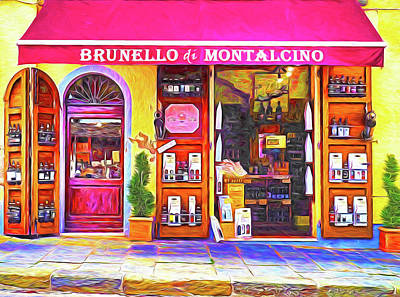Digital Art - Tuscany Wine Shop by Dennis Cox WorldViews
