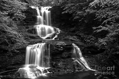 Tuscarora Falls Black And White Landscape Print by Adam Jewell