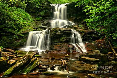 Tuscarora Falls Rocky Cascades Print by Adam Jewell
