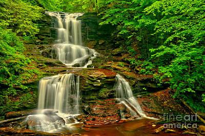 Tuscarora Falls Spring Cascades Print by Adam Jewell