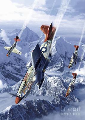 Tuskegee Airmen Flying Near The Alps Art Print