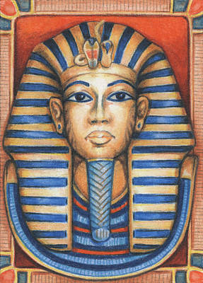 King Tut Drawing - Tut's Golden Mask by Amy S Turner
