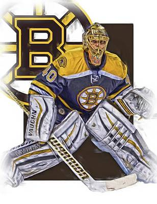 Hockey Mixed Media - Tuukka Rask Boston Bruins Oil Art 1 by Joe Hamilton