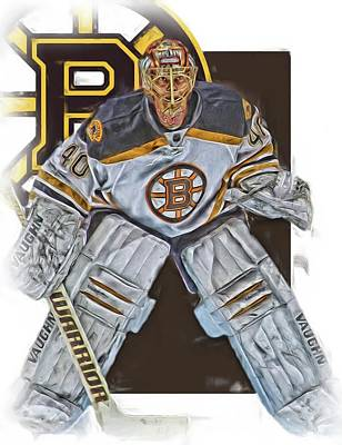 Boston Bruins Mixed Media - Tuukka Rask Boston Bruins Oil Art 2 by Joe Hamilton