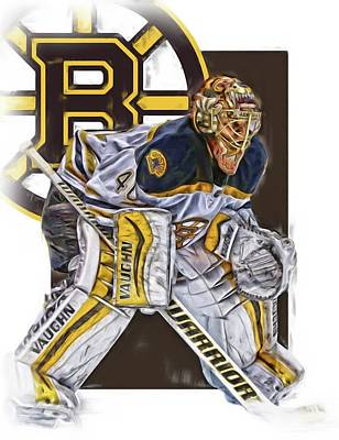 Boston Bruins Mixed Media - Tuukka Rask Boston Bruins Oil Art 3 by Joe Hamilton