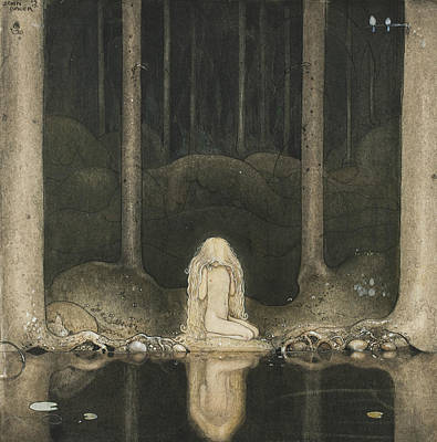 Painting - Tuvstarr Is Still Sitting There Wistfully Looking Into The Water by John Bauer