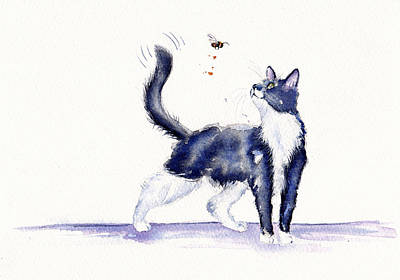 Cat Painting - Tuxedo Cat And Bumble Bee by Debra Hall
