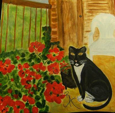 Painting - Tuxedo Cat And Flowers by Rosemary Augustine