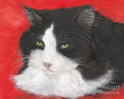 Tuxedo Cat Animal Pets Lazing Portrait Art Print by Cathy Peek