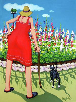 Painting - Tuxedo Cat - Edens Garden by Rebecca Korpita