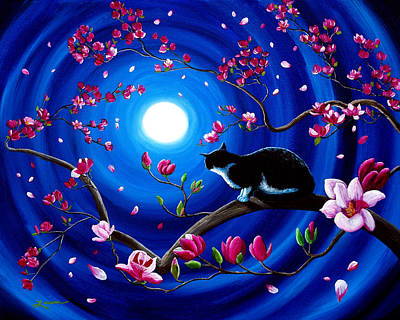 Surreal Painting - Tuxedo Cat In A Japanese Magnolia Tree by Laura Iverson