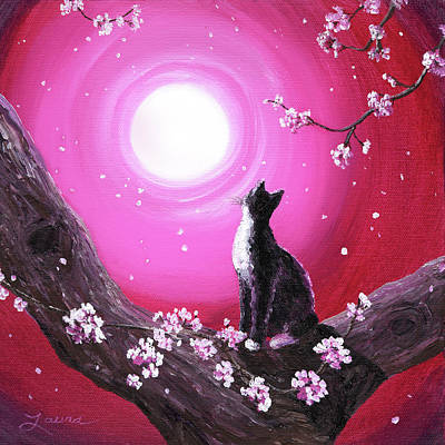 Laura Iverson Royalty-Free and Rights-Managed Images - Tuxedo Cat in Cherry Blossoms by Laura Iverson