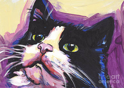 Colorful Cat Painting - Tuxedo Cat by Lea S