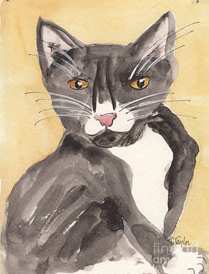 Painting - Tuxedo Cat With Attitude by Terry Taylor