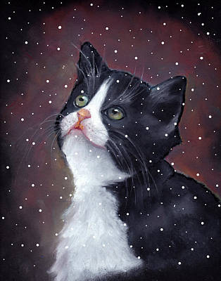 Pastel - Tuxedo Cat With Snowflakes by Joyce Geleynse