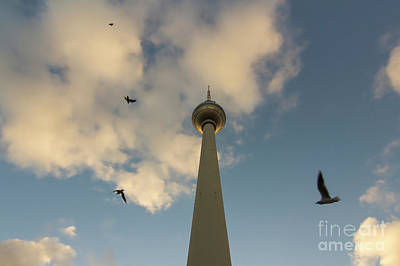 Tv Tower Or Fernsehturm With Birds At Sunset, Berlin, Germany Art Print