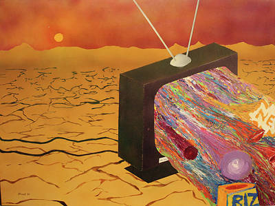 Print featuring the painting Tv Wasteland by Thomas Blood