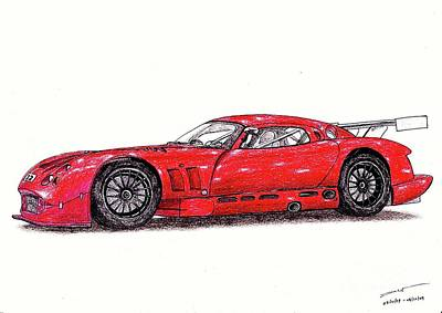 Super Cars Drawing - Tvr Cerbera Speed 12 by Dan Poll