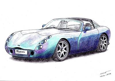 Super Cars Drawing - Tvr Tuscan Speed Six by Dan Poll