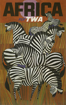 Airlines Mixed Media - Twa Africa by David Wagner