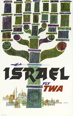 Airlines Mixed Media - Twa Israel by David Wagner