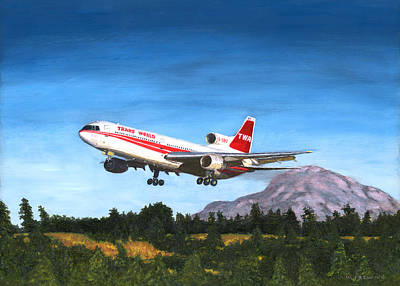 Painting - Twa L1011 Landing At Seattle by William Frew