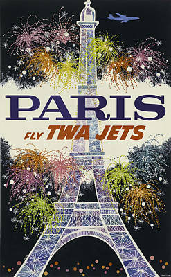Airlines Mixed Media - Twa Paris by David Wagner