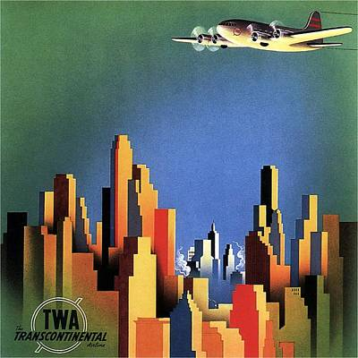 Royalty-Free and Rights-Managed Images - TWA Transcontinental - Trans World Airlines - Retro travel Poster - Vintage Poster by Studio Grafiikka