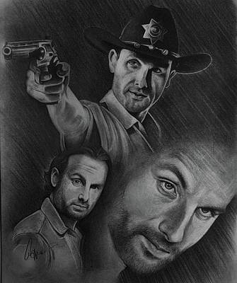 Grime Drawing - Twd Rick Grimes Collage by Amber Folliett