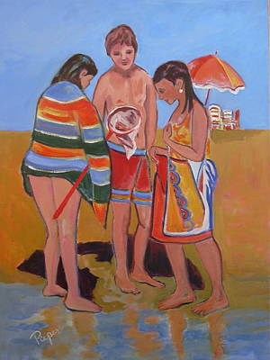 Art Print featuring the painting Tweens At The Beach by Betty Pieper