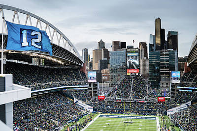 Photograph - Twelfth Man Flag Seattle Seahawks Stadium Game by Christopher Boswell