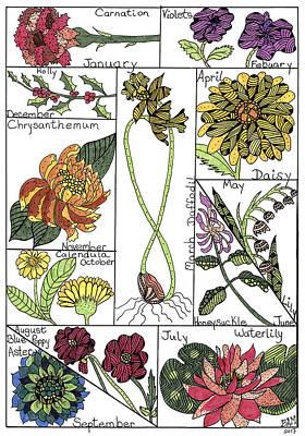Drawing - Twelve Month Flower Box by Barbara McConoughey