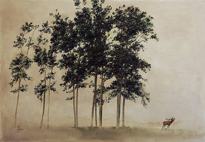 Painting - Twelve Oaks With Stag by Attila Meszlenyi