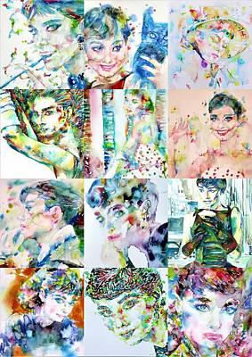 Painting - Twelve Portraits Of Audrey Hepburn by Fabrizio Cassetta