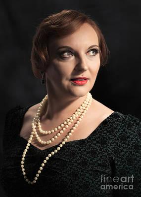 Earrings Photograph - Twenties Style Classic Portrait by Amanda Elwell