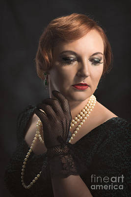 Earrings Photograph - Twenties Style Portrait by Amanda Elwell