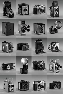 Twenty Old Cameras - Black And White Art Print