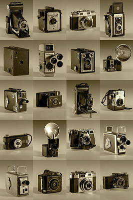Photograph - Twenty Old Cameras - Sepia by Art Whitton