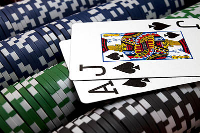 Poker Photograph - Twenty One by Ricky Barnard