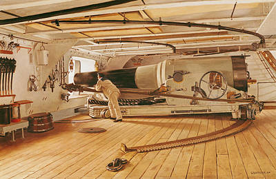 Warship Painting - Twenty-seven Pound Cannon On A Battleship by Gustave Bourgain