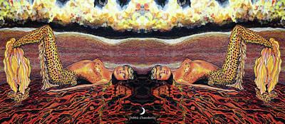 Fantasy Painting - Twice Is Nice Mermaids by Debbie Chamberlin